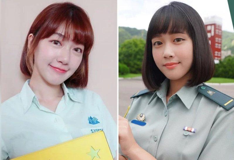 23歲的女少尉蔡佩璇(右)因外貌與「國民女友」泱泱(左)相當神似,因而引來網友討論。圖/泱泱Instagram、青年日報臉書