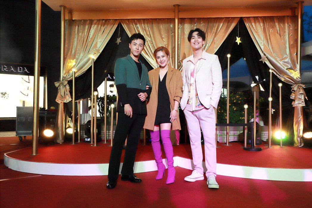 游書庭(左起)、黃小柔、謝毅宏日前出席時尚派對走紅毯。圖/奢華寶貝提供