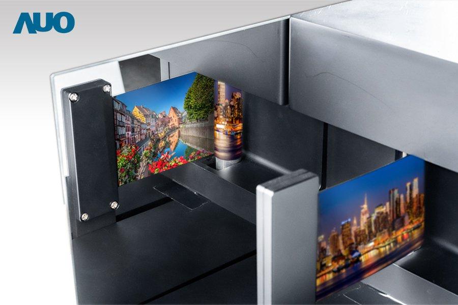 友達5.6吋雙面可捲式OLED顯示器,雙面顯示可讓不同使用者觀看,並以捲曲方式收...