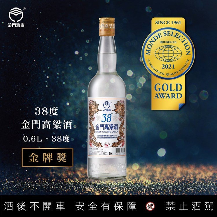 38度金門高粱酒,獲2021年比利時布魯塞爾世界食品品質評鑑大賞金牌獎肯定。圖/...