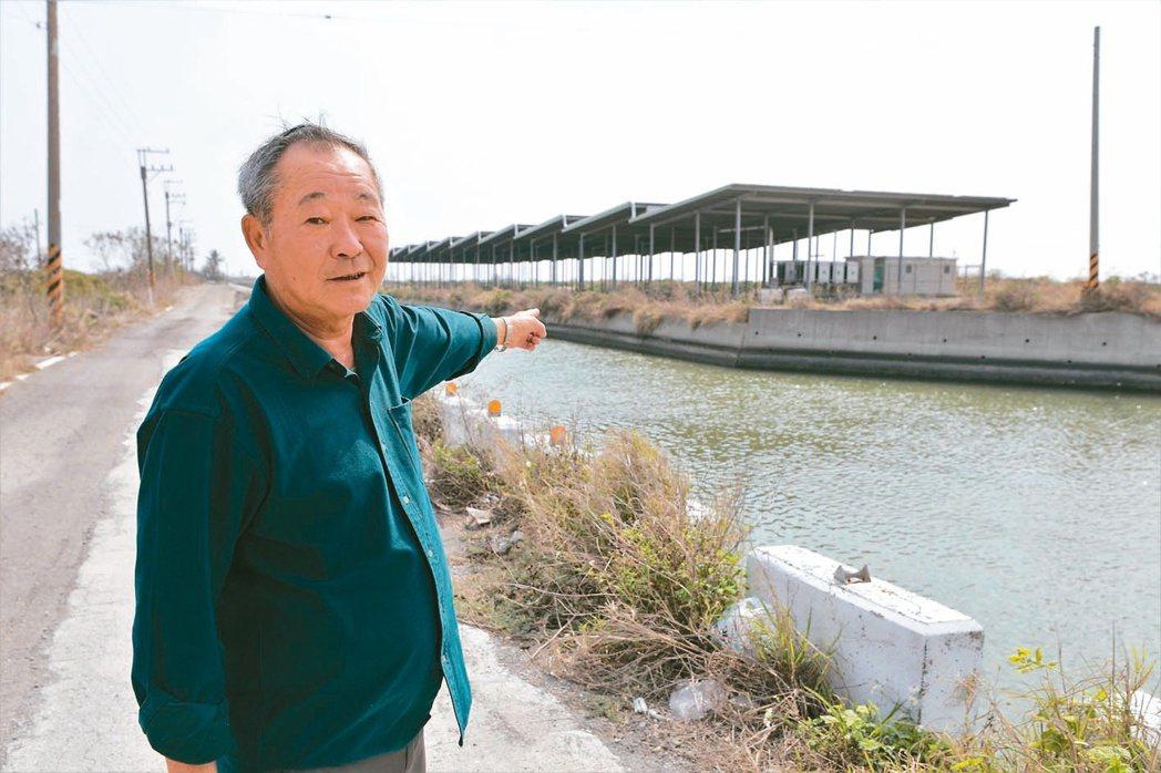 台南七股龍山社區發展協會理事長黃家林說,當地一座魚塭光電場早已沒養殖。記者林奐成...