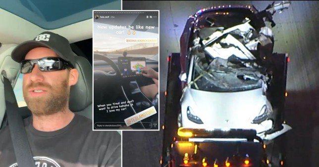 特斯拉駕駛意外身亡前曬汽車自動駕駛影片。圖/取自nypost