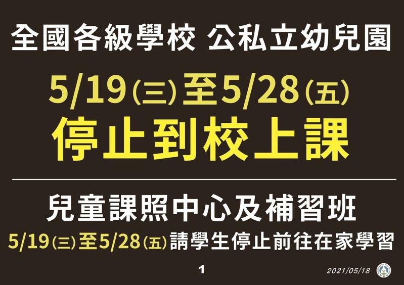 全國各級學校、公私立幼兒園明起到5月28日停止到校上課。圖/指揮中心提供
