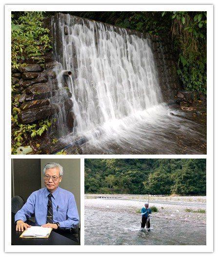 世豐電力總經理李錦浚(左下)表示,豐坪溪水力充沛,適合發展水力發電。 世豐/提供