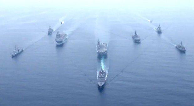 """日、美、法、澳""""ARC21""""軍演編隊進入東海。 推特視頻截圖/ 防衛省海上自衛隊@JMSDF_PAO"""