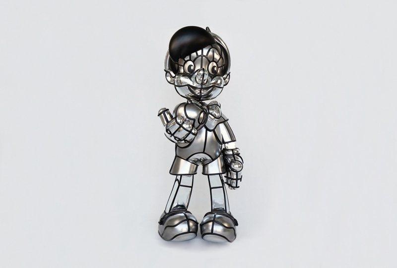 David Flores   「REAL BOY」 Scuplture 材質:玻璃纖維、鍍銀、手工上色   尺寸:122 x 77 x 48 cm 2020年