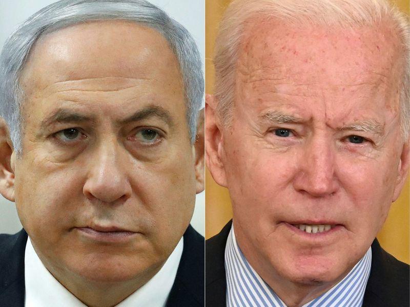 美國總統拜登(圖右)17日與以色列總理內唐亞胡(圖左)通電話。法新社