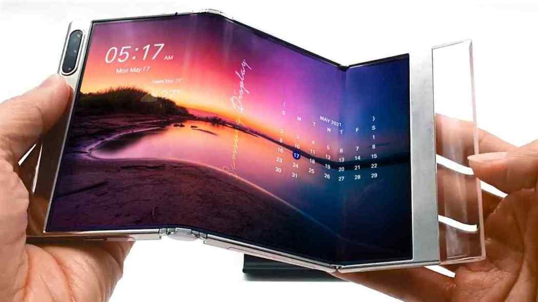 三星電子17日起在美國的線上參展平台上,展示雙折疊智慧手機原型機。(網路圖片/三...