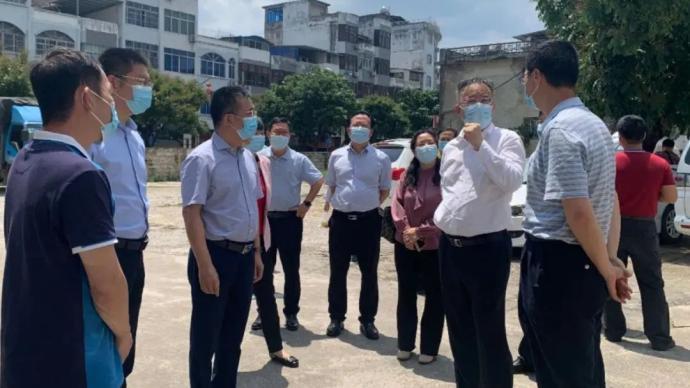 廣西自治區副主席黃俊華(右二)到友誼關口岸指導疫情防控。取自憑祥市政府網站
