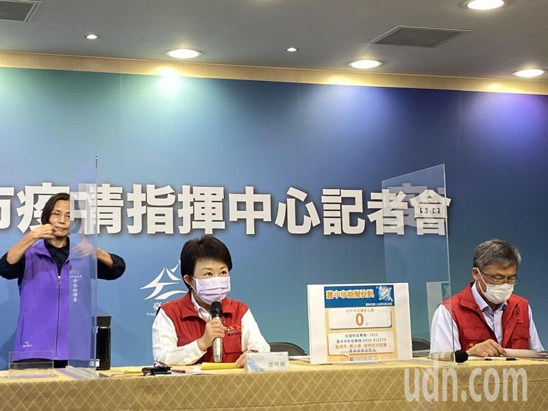 台中市長盧秀燕今宣佈,台中市設立10處快篩站,20日起可免費篩檢。記者趙容萱/攝影