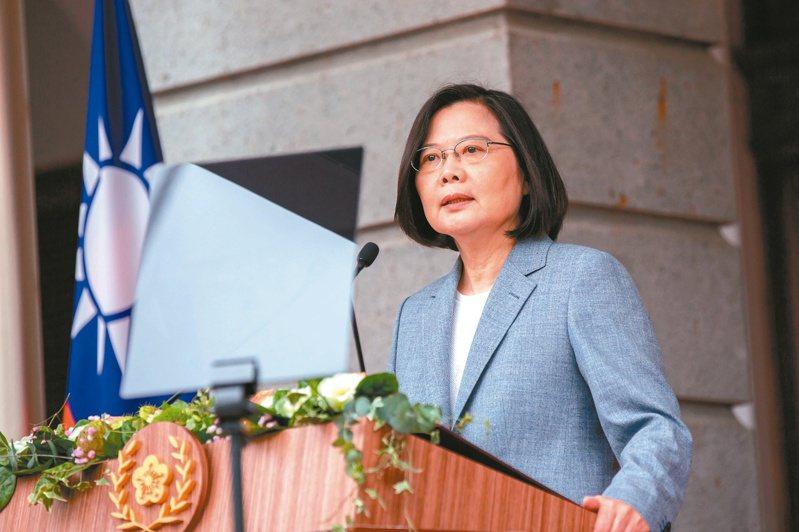 蔡英文總統去年五二○連任就職時,在台北賓館發表就職演說。圖/總統府提供
