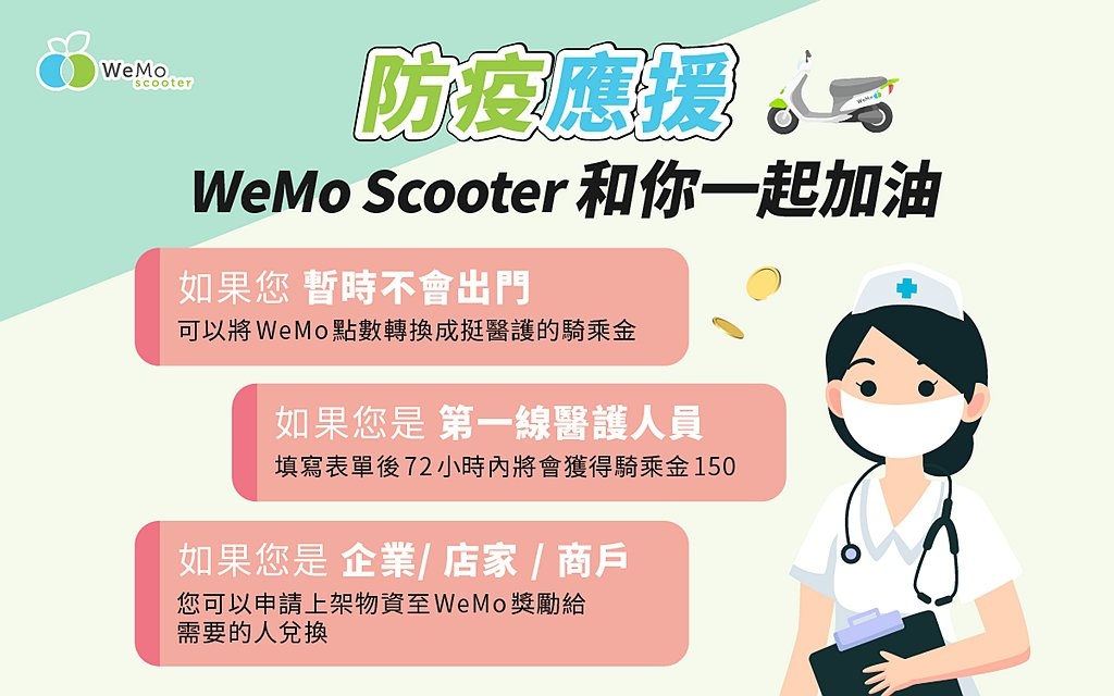一起透過捐贈WeMo點數盡一份心力,WeMo Scooter會將點數再加倍轉化為...