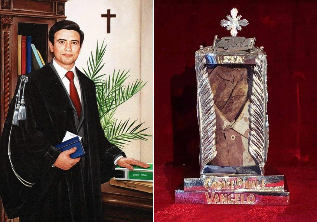 圖/梵諦岡:圖為已故的義大利法官利瓦蒂諾,右為宣福禮所保存的利瓦蒂諾「血襯衫」,...