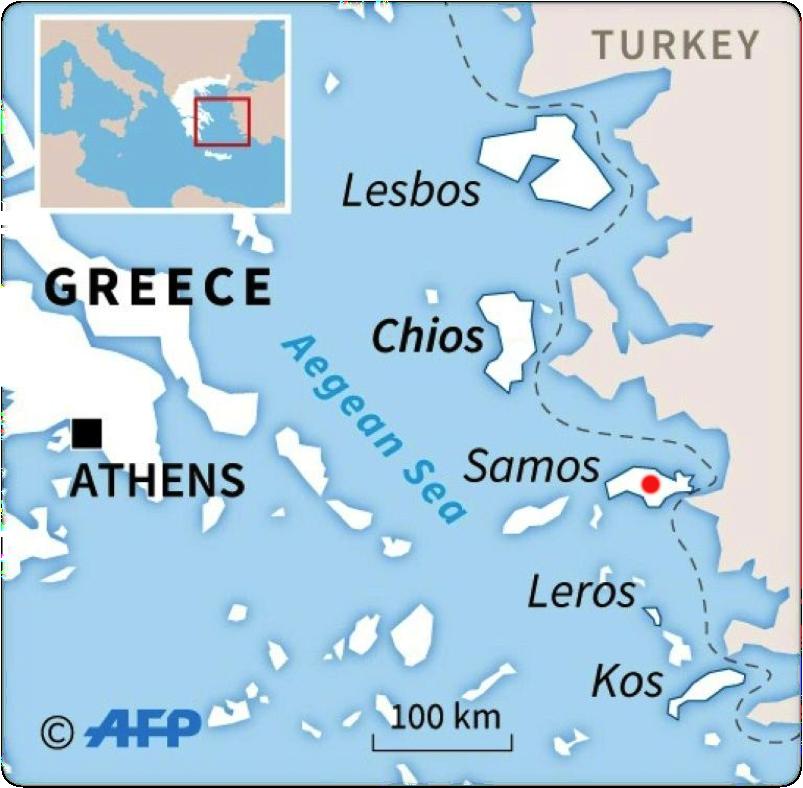 薩摩斯是位於愛琴海上的小島。現收容了多國難民。(資料來源:法新社)