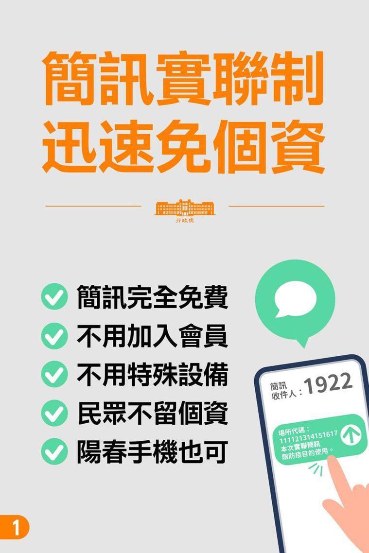 行政院推出全國通用的簡訊實聯制措施。圖/摘自行政院臉書