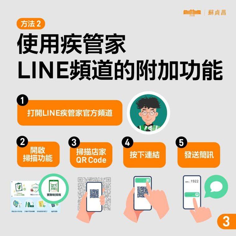 也可透過疾管家官方LINE頻道掃描完成認證。圖/摘自行政院臉書