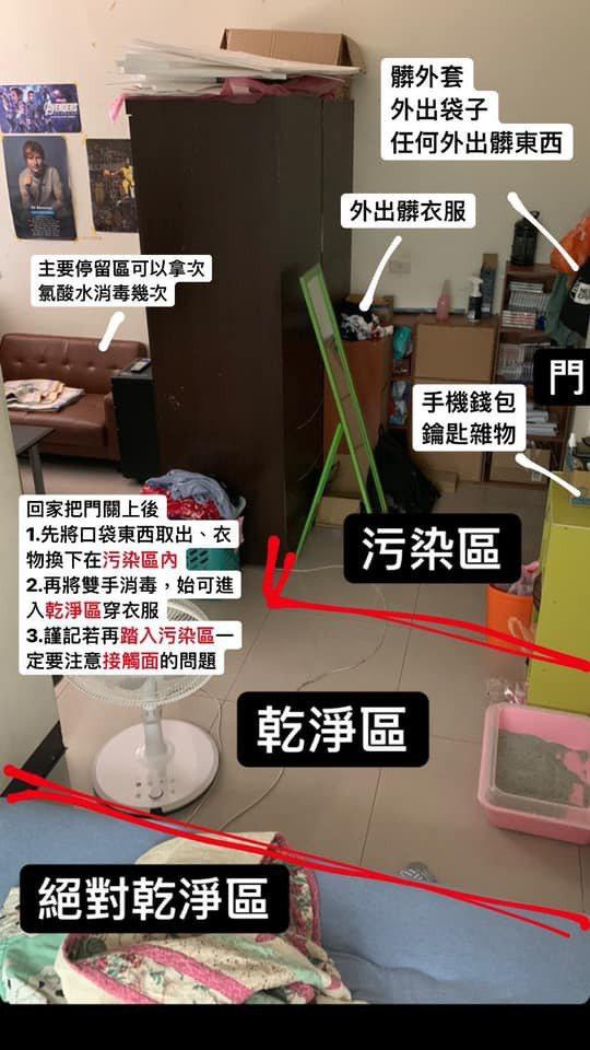 振興醫院感染科主治醫師顏慕庸分享,可以將進門處的小部分空間,分為汙染區、乾淨區與絕對乾淨區,達到防疫自保效果。圖/擷取自顏慕庸臉書