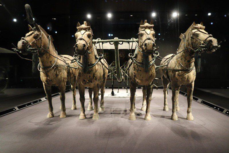 銅車馬雍容華貴,是青銅之冠。新展館設有大螢幕展示銅車馬內部細緻的花紋,讓旅客更能了解銅車馬。記者呂佳蓉/攝影
