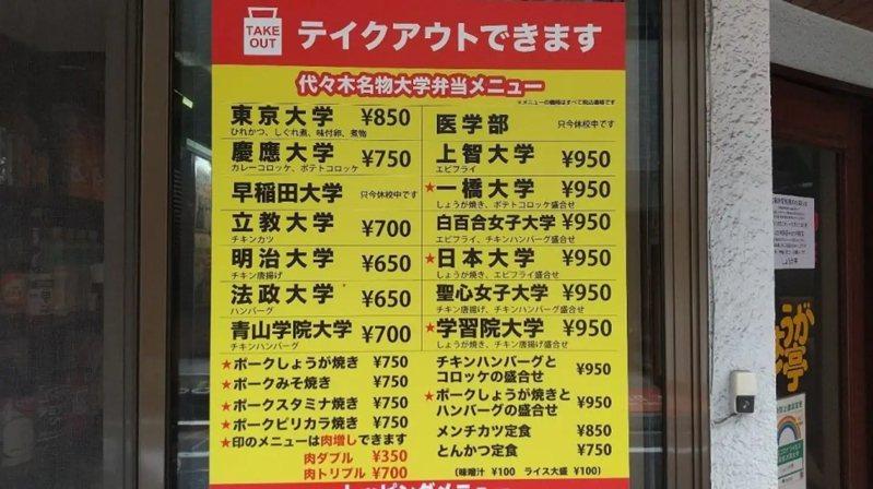 在日本東京補習街,有家以名校大學命名便當菜單的店家。圖擷取自Jタウンネット