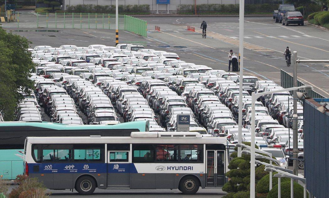 圖為5月18日,現代汽車在首爾市東南約410公里處的一家工廠。現代汽車集團表示,...
