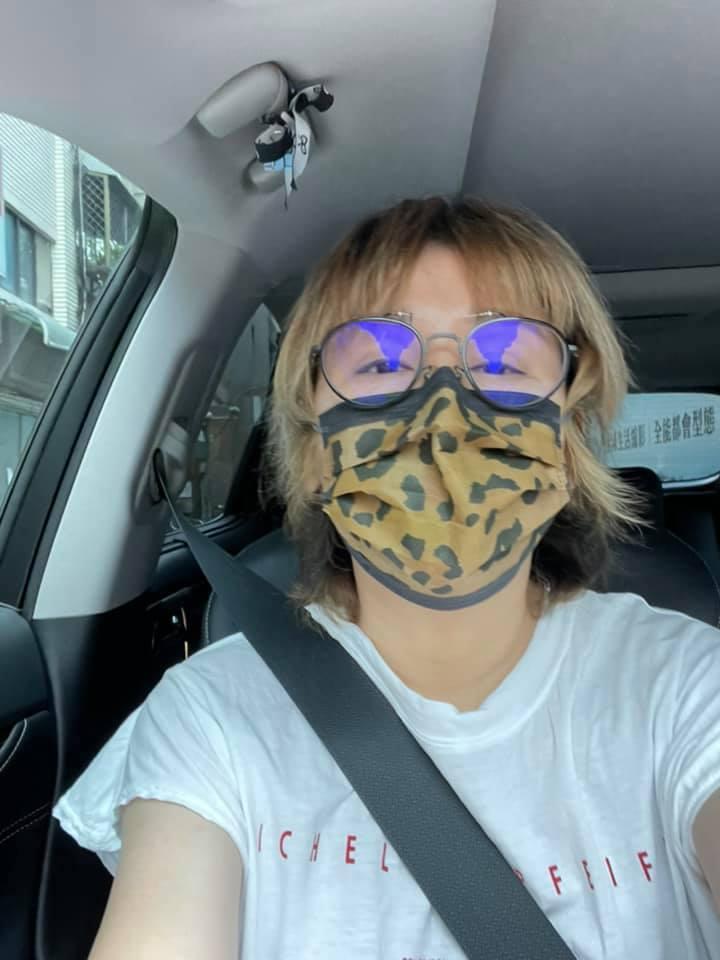 藍心湄開車也好好戴口罩。圖/擷自臉書