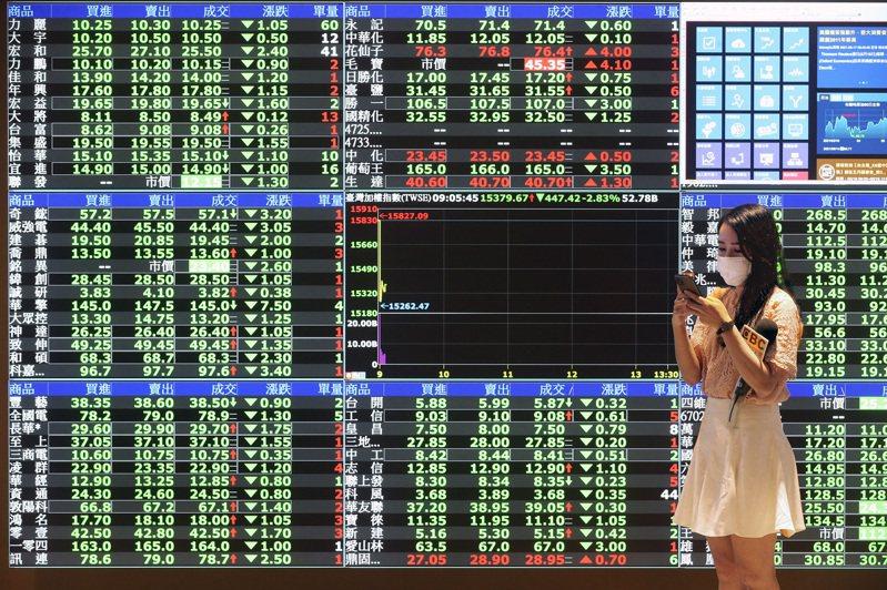 台股20日開低,一度跌破萬六下滑至15,943.45點,終場以16,042.36點作收,下跌90.3點。  報系資料照/記者胡經周攝影
