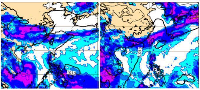 歐洲模式模擬26日8時地面氣壓及前12小時降水圖(左圖)顯示,滯留鋒影響台灣、降雨明顯。模擬28日20時地面氣壓及前12小時降水圖(右圖)顯示,滯留鋒再增強,重返台灣,亦伴隨明顯降雨。圖/取自「三立準氣象.老大洩天機」專欄