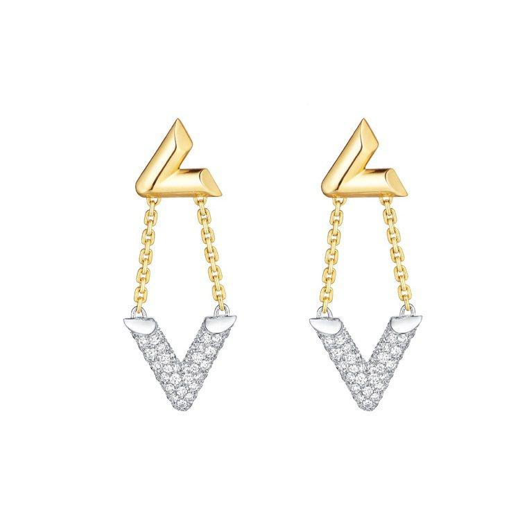 LV Volt Upside Down 的黃K金與白K金鑲鑽耳環,29萬8,00...