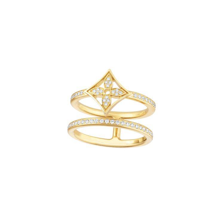 Idylle Blossom黃金鑲鑽雙排戒指,23萬7,000元。圖/路易威登提...
