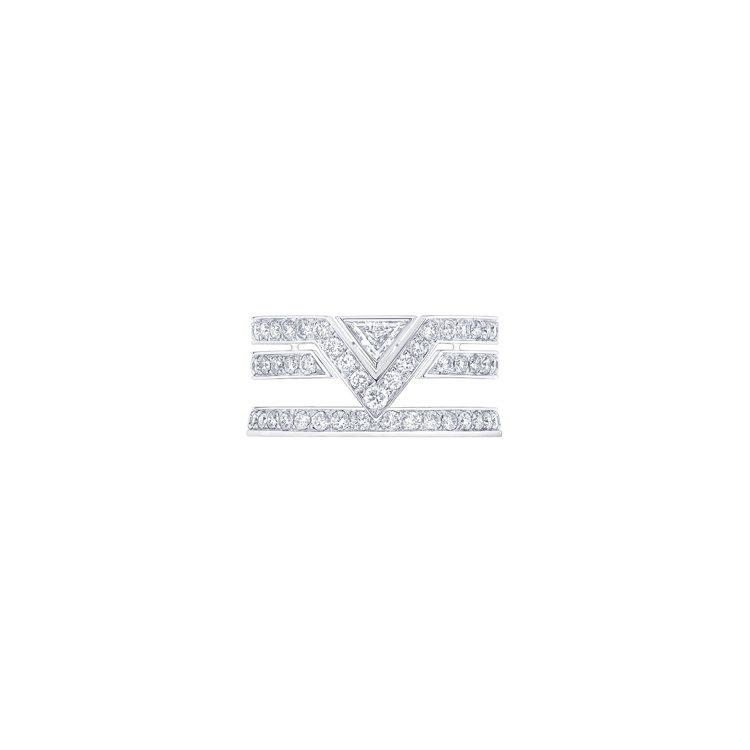 高級珠寶Pure V白金鑲鑽戒指,價格店洽。圖/路易威登提供
