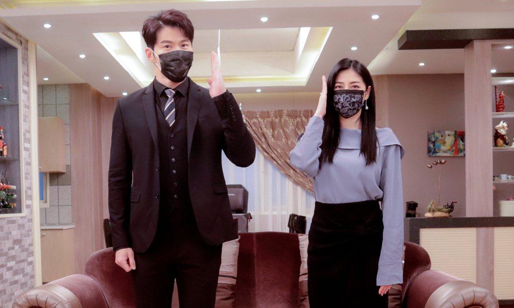 黃少祺(左)和韓瑜拍戲之餘非常重視防疫。圖/三立提供