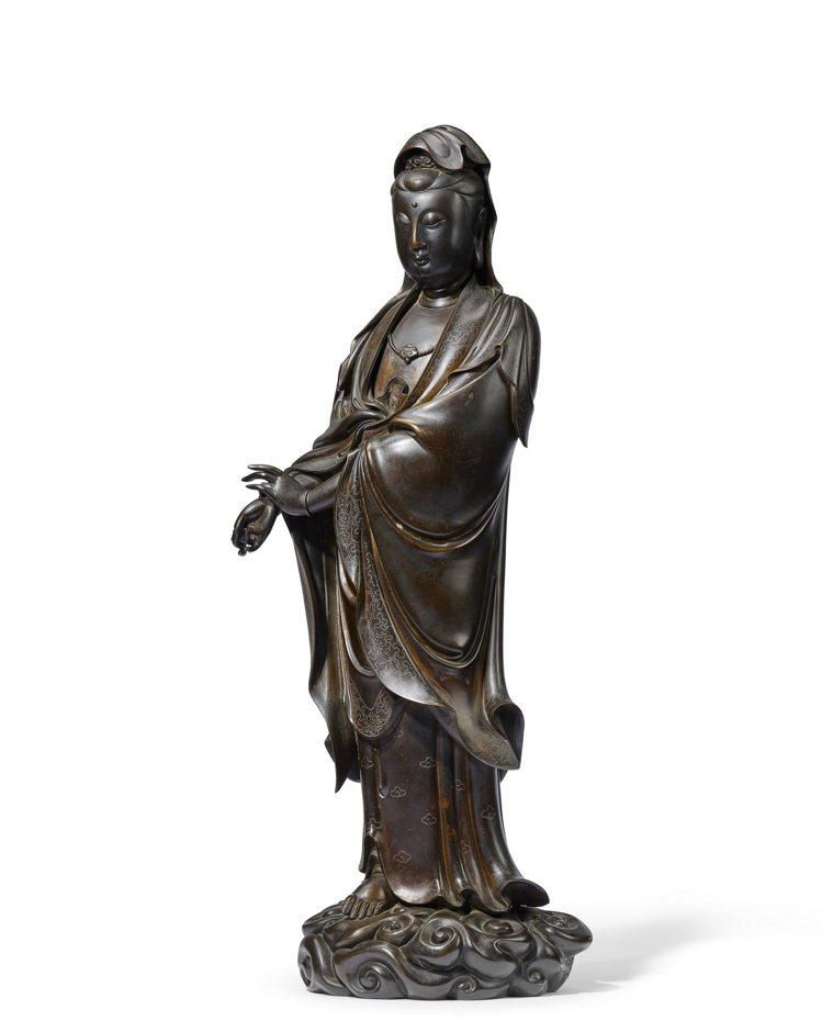16-17世紀銅錯銀觀音立像,估價350萬港元起。圖/邦瀚斯提供