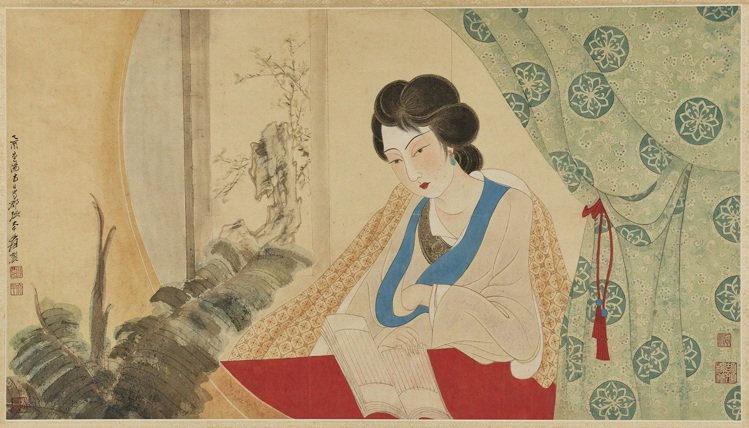 張大千1945年作「讀書圖」,設色紙本、立軸,估價500萬港元起。圖/邦瀚斯提供