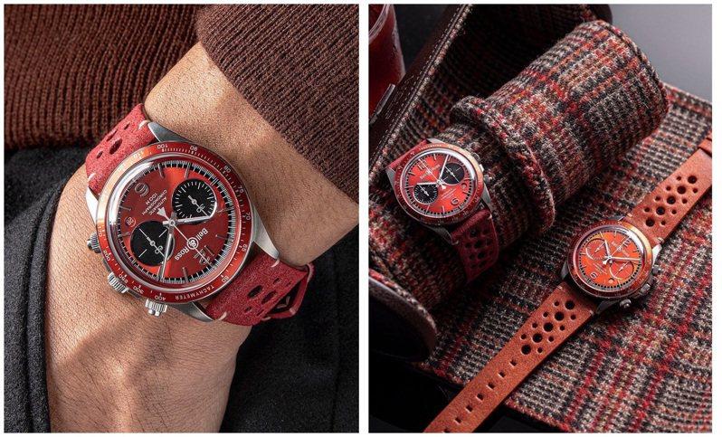 Bell & Ross近日發表一款限定版火紅色計時碼表,以鮮豔大紅,帶來熱情、樂觀聯想。圖 / 翻攝自 ig @bellrosswatches(合成圖)。