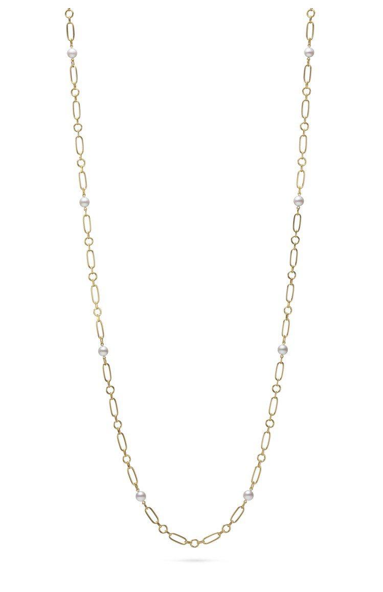 MIKIMOTO M Code系列珍珠長項鍊黃K金款,83公分,17萬5,000...