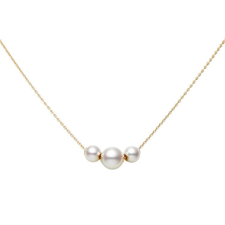 MIKIMOTO Jewels in Motion系列珍珠墜鍊三顆珍珠款,18K...