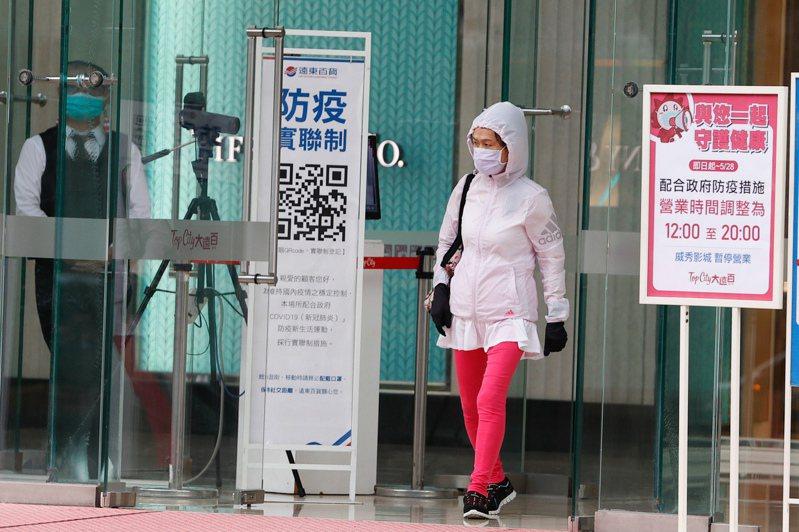 台灣疫情緊張,有中部民眾進出百貨公司包得密不透風。記者黃仲裕攝影/報系資料照