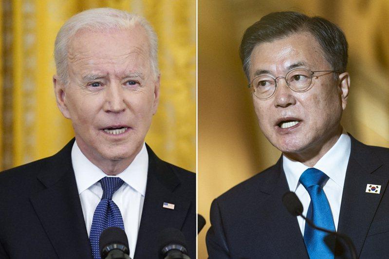 拜登(左)、文在寅(右)美韓領導人對話將登場。圖/美聯社、歐新社