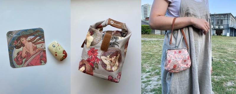 「永恆慕夏-線條的魔術」特展邀請多組台灣在地設計品牌,將慕夏畫作融入多種生活周邊商品。圖 / 誠品生活文創平台expo提供