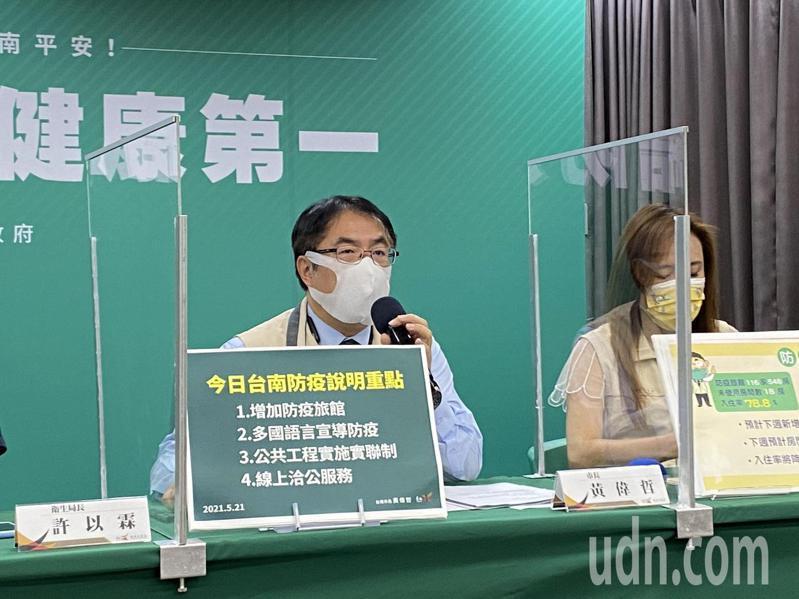 台南市長黃偉哲(左)表示,今天立法院會通過2600億元第二階段紓困費用,下周中央作業若還未完成,台南會先墊支。記者鄭維真/攝影