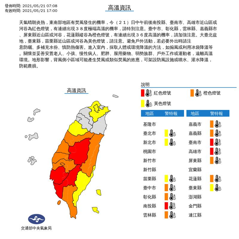 5月以來,高雄市連續出現38度極端高溫。圖/翻攝自中央氣象局網站