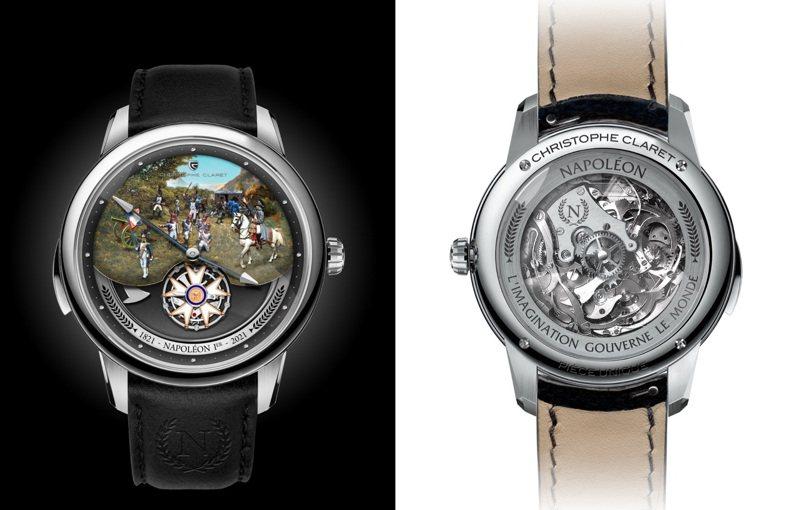 Napoleon飛行陀飛輪三問手表透明的後底蓋可欣賞機芯運作,而面盤的六點鐘方向並有Napoleon與1821、2021的紀念字樣,2,080萬元,全世界限量8件。圖 / Christophe Claret提供。