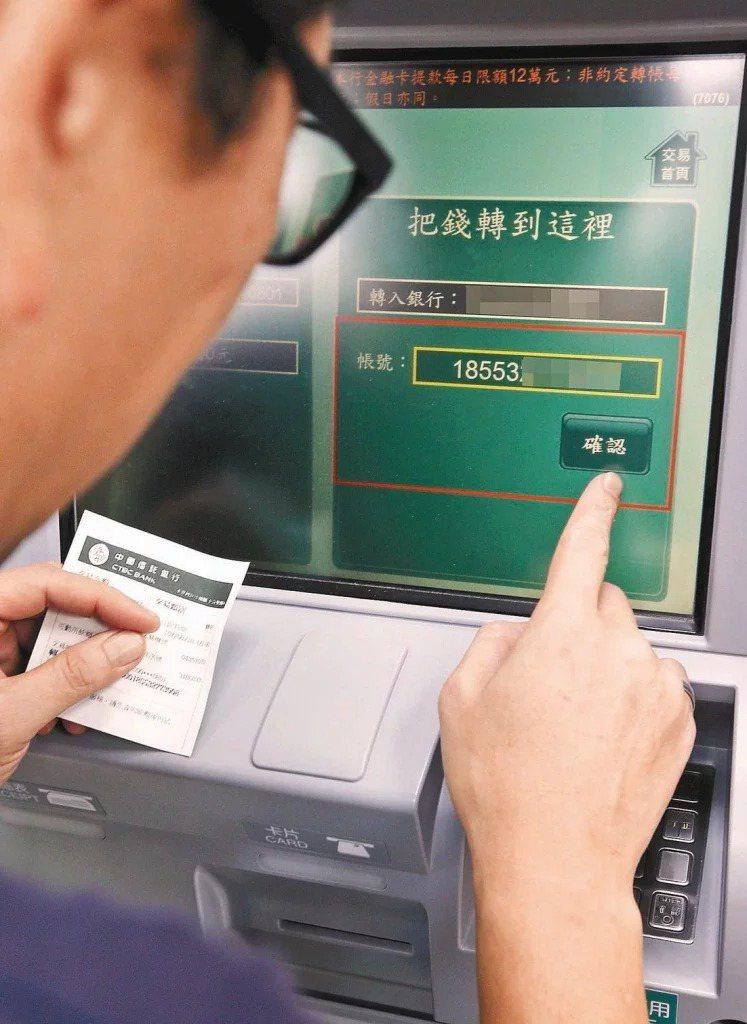 疫情警戒第三級期間,網銀、行動銀行跨行轉帳手續費全免,實體ATM轉帳手續費減2元。 圖/聯合報系資料照片