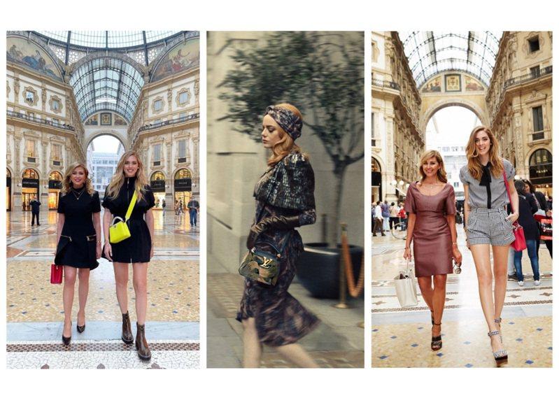 艾瑪史東和Chiara Ferragni母女檔都選搭Capucines包款。圖/取自IG