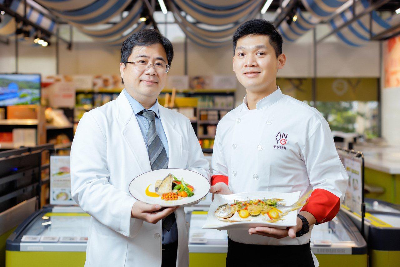 江奕賢營養師(左)和陳安彥料理長聯手推出防疫料理。記者陳軍杉/攝影