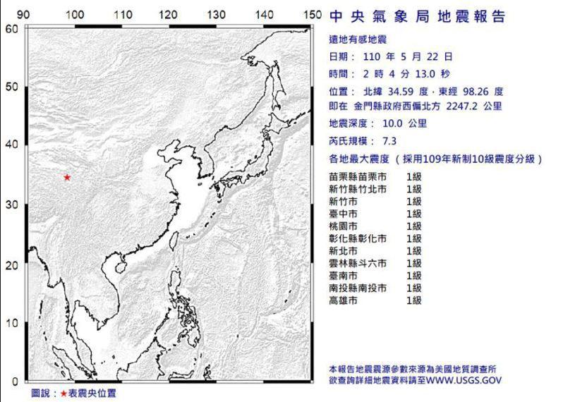 中央氣象局發布遠地有感地震報告。圖/取自氣象局網站