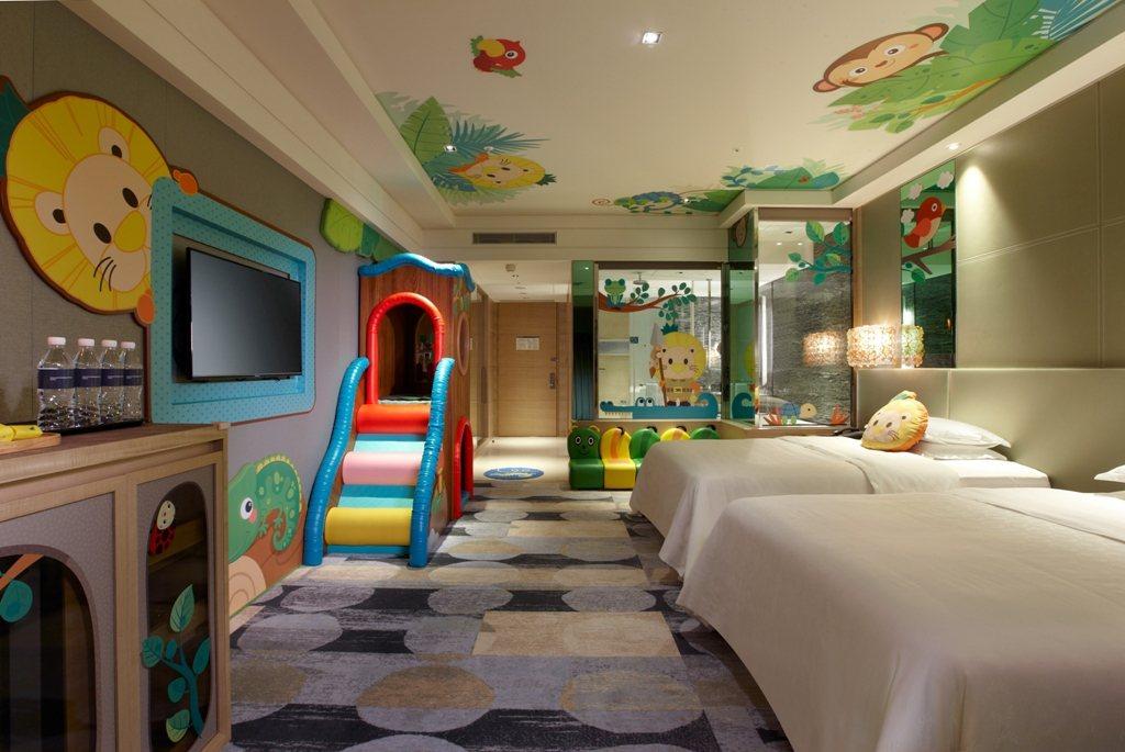 今年初新竹喜來登也推出「喜波波主題房」,以好玩有趣的空間,吸引親子客。圖/新竹豐...