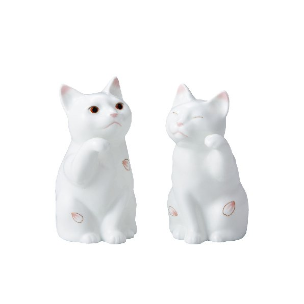 Noritake櫻花招財貓擺飾(一對)/售價14,800元。圖/旺代提供