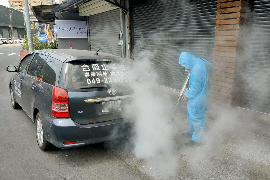 南投縣又新增新冠肺炎確診個案,各鄉鎮都加強消毒。圖/讀者提供