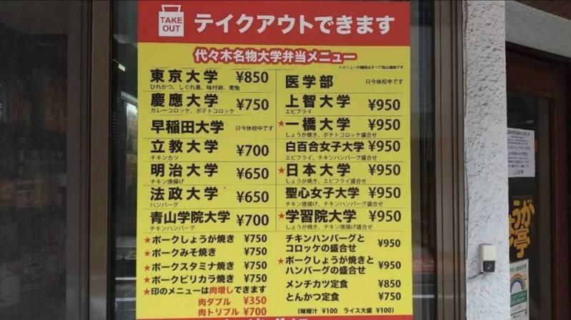 東京一家老牌便當店的菜單上全都是大學名。(Twitter)